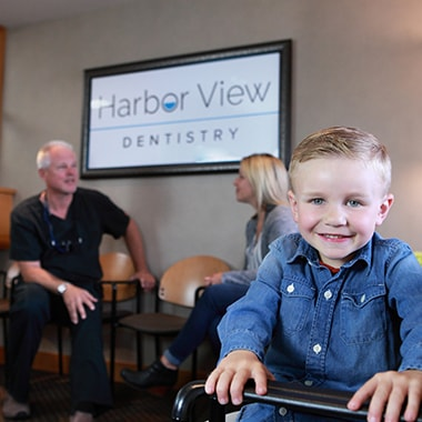 Child patient at Harbor View Dentistry ready to get a sealant